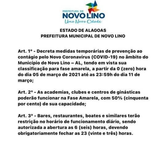 Photo of NOVO DECRETO! Prefeitura de Novo Lino publica medidas para conter crescimento da Covid-19